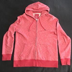 Men's Red Heathered Full Zip Hoodie